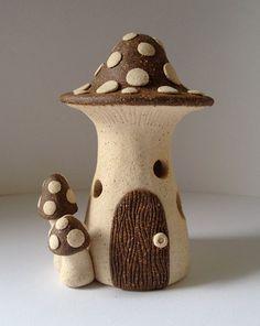 Fairy House Mushroom - Ceramic, Warm White and Red, for fairy garden. $35.00, via Etsy.