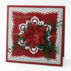 A festive feeling card made with dies...  details on this blog post...  [url=http://expressionswithheart.wordpress.com/2012/10/24/marianne-design-poinsettia/][color=brown]Expressions With Heart - MD Poinsettia card[/color][/url]