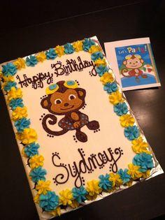 Monkey Swim Party Birthday Cake -- to match invitations! :)