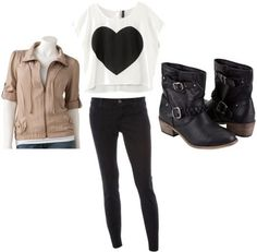 Tan leather jacket, white tee with black design, black pants, black or white boots