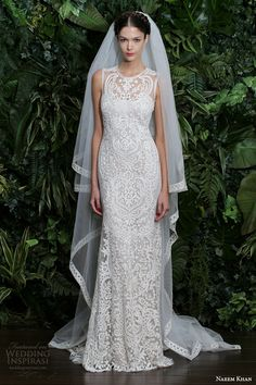 naeem khan bridal fall winter 2014 2015 valencia embroidered strapless wedding dress