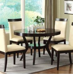 This contemporary Downtown I Round Dining Room Collection by Furniture of America will create a stunning focal point for your home. Clean lines and simple design perfect this contemporary look. Large Round Dining Table, Wooden Dining Tables, Glass Dining Table, Kitchen Dining, Dining Chairs, Traditional Dining Tables, Elegant Dining, Dining Room Sets, Table Furniture