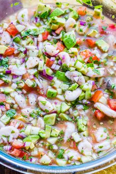 Ceviche is loaded with shrimp, avocados, tomatoes and cucumbers; all marinated i… Ceviche is loaded with shrimp, avocados, tomatoes and cucumbers; all marinated in fresh lime juice. You can use cooked or raw shrimp in this Mexican shrimp cocktail. Mexican Shrimp Cocktail, Mexican Shrimp Recipes, Seafood Recipes, Appetizer Recipes, Cooking Recipes, Ceviche Recipe Shrimp Mexican, Shrimp Ceviche With Avocado, Seafood Ceviche, Mexican Seafood