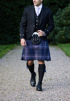 Scotland Forever tartan is another patriotic choice, combining blue tones and th. Grooms In Kilts, Men In Kilts, Kilt Men, Groom Kilts, Kilt Wedding, Tartan Wedding, Kilt Hire, Tartan Kilt, Look Thinner
