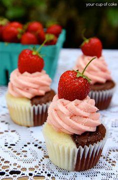 Cupcake Recipes | Delicious Cupcake Ideas: Neapolitan Cupcakes