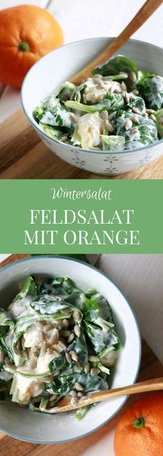 Wintersalat Rezept: Feldsalat mit Orange und Joghurtsoße ist ein leckerer Winter Salat, der angenehm frisch schmeckt. Die Feldsalat Zubereitung ist zwar etwas aufwendig, aber das Feldsalat Rezept ist dafür besonders lecker. Als Feldsalat Dressing wird Naturjoghurt verwendet.