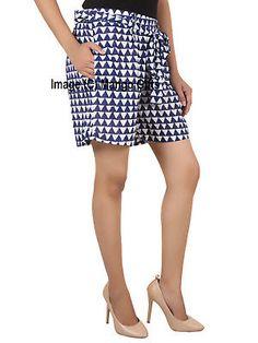 ce5b8cb433f141 Indigo Hand Block Print 100%Cotton Women Casual Shorts Girls Fashion Wear  Indian