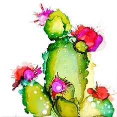 Alcohol Ink Painting - Prickly Pear Cooler by Marla BeyerChoose your favorite cactus paintings from millions of available designs. All cactus paintings ship within 48 hours and include a money-back guarantee.Marla Beyer - Artwork for Sale - Mahomet, Alcohol Ink Tiles, Alcohol Ink Glass, Alcohol Ink Crafts, Alcohol Ink Painting, Cactus Art, Cactus Flower, Cactus Plants, Watercolor Flowers, Watercolor Art