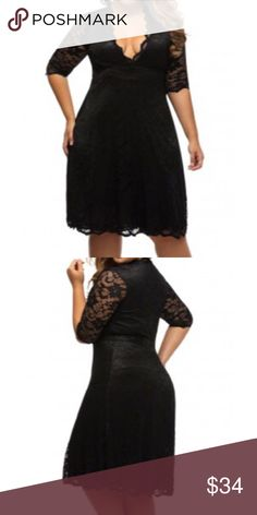 Black Plus Size Lace Dress New sexy plus size lace derss fits a size 18-20 Dresses