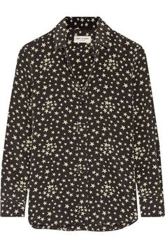SAINT LAURENT Printed Silk Crepe De Chine Shirt. #saintlaurent #cloth #tops