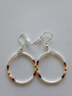 Native American Beaded Earrings - 1.4 inch. White. Sterling silver hooks.