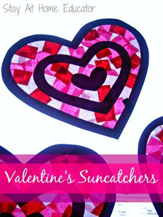 With very little prep work, these Valentine's suncatchers can be completed within a half an hour. They also appeal to a wide range of abilities and ages. Corinne, who is two, can do this craft, as well as William, who is in preschool.