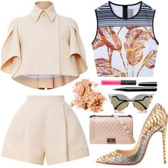 cute suit by roxanna-kingston on Polyvore featuring Clover Canyon, Delpozo, Christian Louboutin, Chanel, Fendi, Bobbi Brown Cosmetics, Marc and NARS Cosmetics