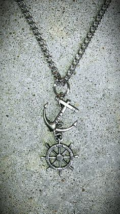 NAUTICAL ANCHOR WHEEL Sail Boat Necklace silver tone by bleustuff1, $6.99