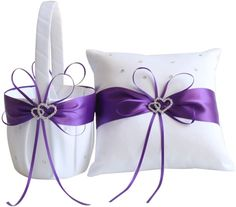 Awtlife 2pcs Sets Flower Girl Basket and Ring Pillow Purple Wedding Decor