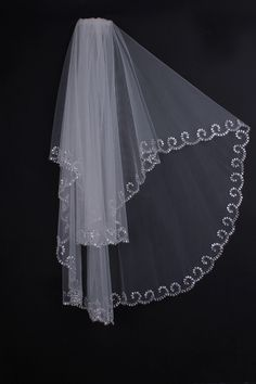 Classic Style 2-tiers Wave Beading Design Elbow Bridal Veil