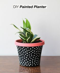 This little DIY painted planter would be just darling on your desk at the office. /BR | The Crafted Life