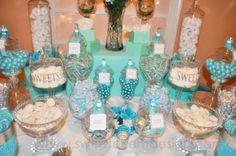 Tiffany blue theme candy and dessert bar buffet, wedding ideas