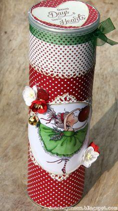 wenches skribleri, the Hobby House, dekorert pringles boks, jul, christmas