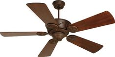 Craftmade Lighting CP52AG Chaparral 52 Ceiling Fan, Aged Bronze Finish Shown with Premier Solid Teak Wood Blades Finish: Aged Bronze.  #Craftmade_Lighting #Lighting