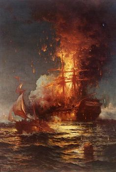 Burning of the US Frigate Philadelphia in the Harbor of Tripoli, 1804, during the First Barbary War (1801–1805),