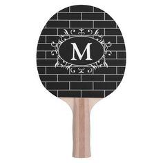 Elegant Black & White Brick Pattern with Monogram Ping Pong Paddle #zazzle #pingpong #tabletennis
