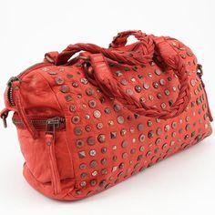 Italienische Echt Leder Handtasche Ledertasche Used Look Vintage Nieten Italien Josual Rot groß www.styleup.eu