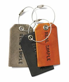 Real Simple Dec 2013 - personalized leather luggage tag. Classic, Chic. Must upgrade luggage