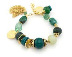 Emerald Green Bracelet Gold Bracelet Chunky Gemstone Bracelet Venetian Glass Bracelet Gemstone Jewelry