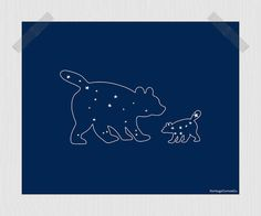 Mama and Baby Bear Printable Ursa Major Ursa Minor Big and Little Dipper Print by HeritageCurrentCo, $10.00