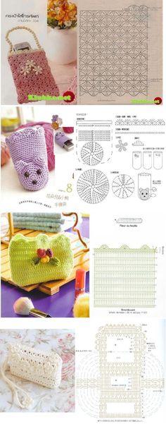 crochet cellphone pouches - different styles Crochet Phone Cases, Crochet Pouch, Crochet Gifts, Diy Crochet, Crochet Dolls, Crochet Diagram, Crochet Motif, Crochet Stitches, Crochet Patterns