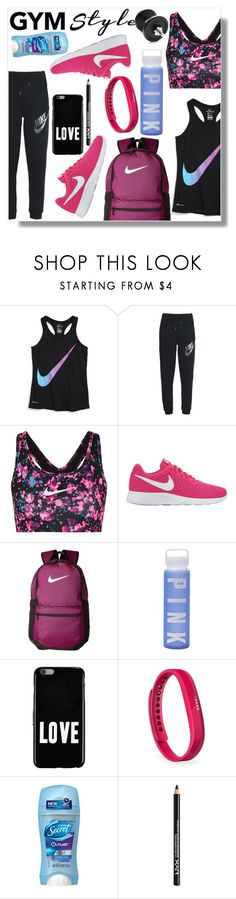 """Gymmm"" by lory-x ❤ liked on Polyvore featuring NIKE, Victoria's Secret, Givenchy, Fitbit and NYX"