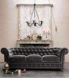 Love The Idea Of A Plush, Tufted, Velvet Sofa With Neutral Industrial  Finishes And