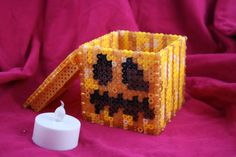 Light Up Minecraft Pumpkin Inspired Box Made of Perler Beads with Removable Lid Perfect for Halloween on Etsy, $20.50
