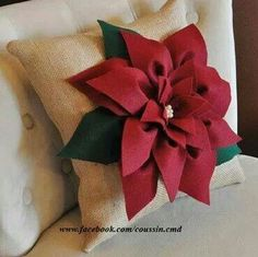 Items similar to Cranberry Red Poinsettia Flower on Burlap Pillow Accent Pillow Burlap Christmas Pillow on Etsy Christmas Cushions, Burlap Christmas, Christmas Pillow, Christmas Home, Christmas Poinsettia, Burlap Pillows, Toss Pillows, Christmas Decorations For The Home, Holiday Crafts