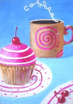 CUPCAKE With COFFEE - Original Pop Art Print by Rodriguez