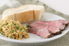 Marinated Flank Steak and Quinoa with Peas and Scallions - Taste and Tell