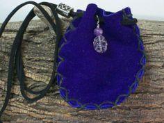 Handmade Purple Leather Medicine Bag, Sage Pouch, Stone Bag, Amethyst Amulet