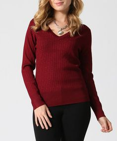 This Burgundy Cable-Knit V-Neck Sweater is perfect! #zulilyfinds