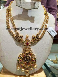Jewellery Designs: Dull Finish Peacock Polki Set