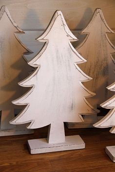 Wood Christmas / Pine Tree Painted and Distressed White By Foo Foo La La