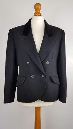 562742e98f Vintage Jaeger Black Wool Double Breasted Tuxedo Blazer Velvet Collar 12 14