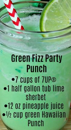 Fizz Party Punch Green Fizz Party Punch ~ Quick, easy to make and the taste is amazing.Green Fizz Party Punch ~ Quick, easy to make and the taste is amazing. Kid Drinks, Summer Drinks, Cocktail Drinks, Fall Drinks, Frozen Drinks, Christmas Drinks, Holiday Drinks, Holiday Punch, Christmas Punch