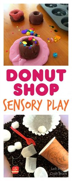 Have some fun Donut Shop Sensory play with a play dough donut bakery and coffee sensory bin.