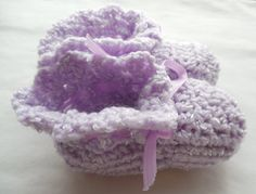 Baby Booties  Lavender  3 to 6 Months by ShelleysCrochetOle,
