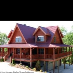 Log cabin home...with wrap around porch!...Perfect!! :)