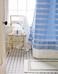 How to use ready-made crochet (found at any sewing store) to update a plain-jane shower curtain.    #crafts #diyprojects