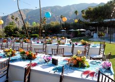 Frederick Loewe Estate wedding with a tropical appeal. Tiki Bars were set-up on the deck with ceremony & dinner on The Point.