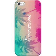 iPhone 6 Plus/6/5/5s/5c Case - Mint Aqua Pink Peach Summer Sunset Beach Palm Trees Silhouette Text Script Summertime