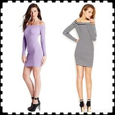 Guess black body-con dress NWT. This listing is for the BLACK body hugging off shoulder sweater dress. White trim at collar and wrists. The last picture is of actual dress. Other pics show the alternate colors. I also have the CREAM color available. See other listing. 💗 Guess Dresses